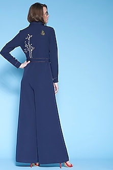 Navy Blue Hand Embroidered Jumpsuit by Shahin Mannan