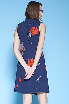 Navy Blue Embroidered Wrap Dress With Belt by Shahin Mannan