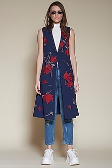 Navy Blue Flared Jacket With Floral Embroidery by Shahin Mannan