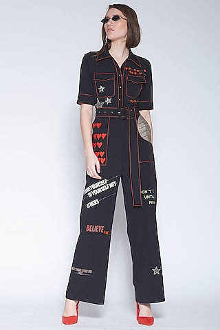 Black Embroidered Jumpsuit With Belt by Shahin Mannan