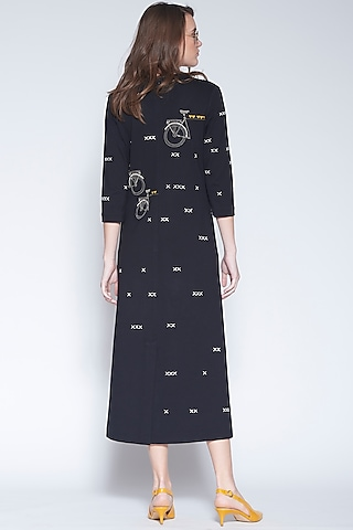 Black Hand Embroidered Midi Dress by Shahin Mannan