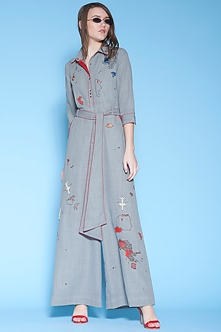 Grey Embroidered Jumpsuit With Snap Buttons by Shahin Mannan