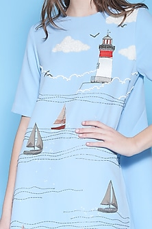 Light Blue Embroidered High-Low Dress by Shahin Mannan