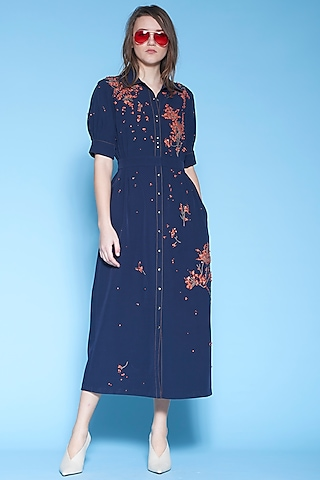 Navy Blue Pleated & Embroidered Dress by Shahin Mannan