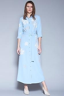 Light Blue Embroidered Shirt Dress by Shahin Mannan