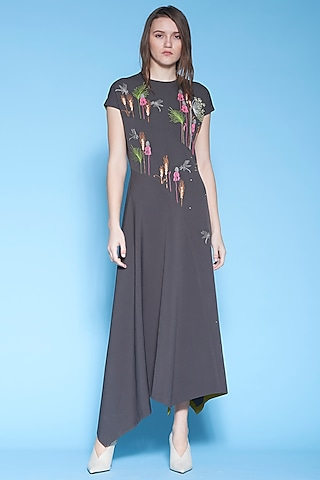 Dark Grey Embroidered Asymmetric Dress by Shahin Mannan