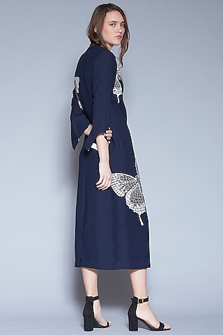 Navy Blue Butterfly Embroidered Dress by Shahin Mannan