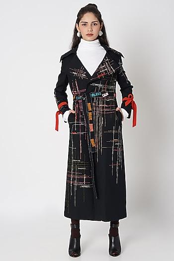 Black Embellished Oversized Long Coat by Shahin Mannan