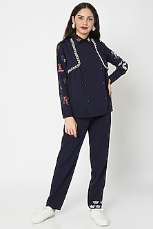 Midnight Blue Embellished Trench Top With Pants by Shahin Mannan