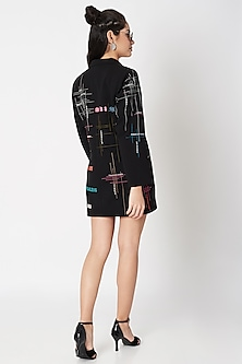 Black Embellished Double Breasted Coat Dress by Shahin Mannan