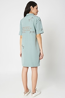 Sage Green Embellished Shift Dress by Shahin Mannan