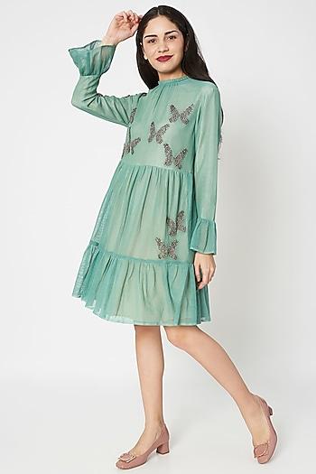Sage Green Embellished Mini Dress by Shahin Mannan
