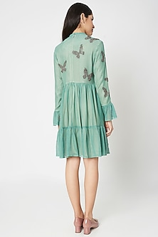 Sage Green Embellished Mini Dress by Shahin Mannan