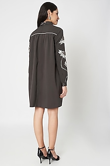 Grey Embellished Gathered Trench Dress by Shahin Mannan