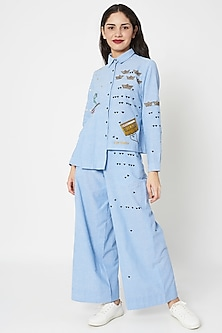 Light Blue Embellished Shirt With Flared Pants by Shahin Mannan