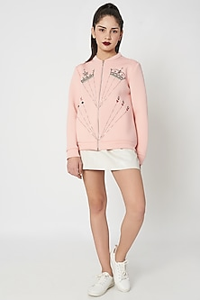 Peach Embellished Bomber Jacket by Shahin Mannan