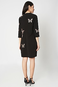 Black Embellished Mini Dress by Shahin Mannan