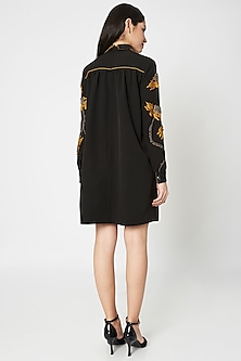 Black Embellished Gathered Trench Dress by Shahin Mannan
