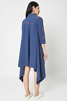 Slate Grey Embellished Shirt Dress by Shahin Mannan