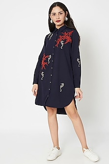 Navy Blue Embellished High-Low Shirt Dress by Shahin Mannan