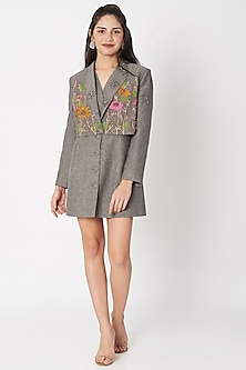 Grey Embellished Layered Coat Dress by Shahin Mannan