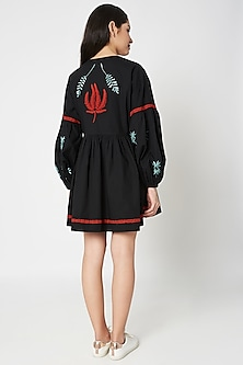 Black Embellished Balloon Sleeved Mini Dress by Shahin Mannan