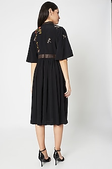 Black Embellished Gathered Midi Dress With Leather Belt by Shahin Mannan