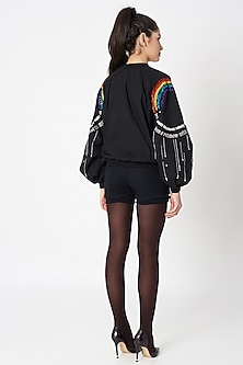 Black Embellished Bomber Jacket by Shahin Mannan