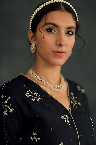 Black Embroidered Sharara Set by Shikha Mehta