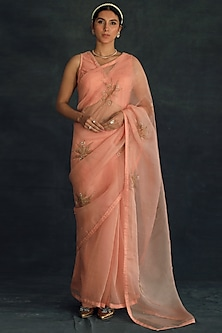 Salmon Pink Embroidered Saree  by Shikha Mehta