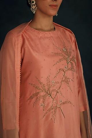 Blush Pink Embellished Kurta Set by Shikha Mehta