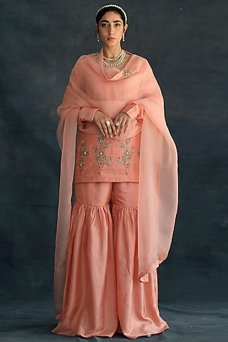 Salmon Pink Embroidered Sharara Set by Shikha Mehta