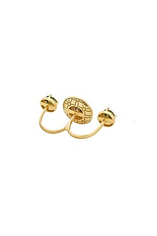 Gold Finish Red Enameled Ring by RockkRagaa