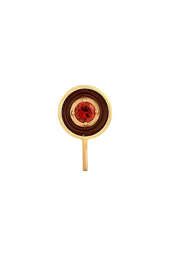Gold Finish Brown & Pink Enameled Ring by RockkRagaa