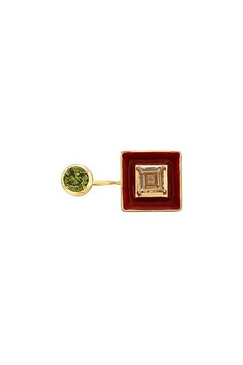 Gold Finish Enameled Cubic Zirconia Ring by RockkRagaa