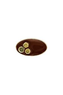 Gold Finish Brown Enameled Ring by RockkRagaa
