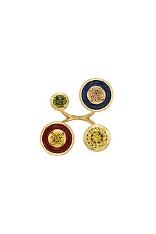 Gold Finish Red & Blue Enameled Ring by RockkRagaa