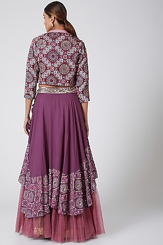 Wine Embroidered Skirt Set by Show Shaa