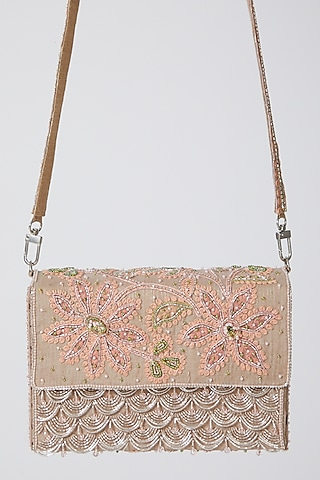 Peach Hand Embroidered Clutch by Show Shaa