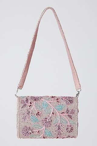 Blush Pink Appliques Embroidered Clutch by Show Shaa