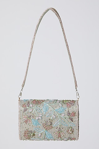 Mint Green Floral Embroidered Clutch by Show Shaa