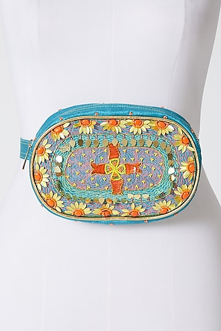 Cobalt Blue Hand Embroidered Waist Pouch by Show Shaa