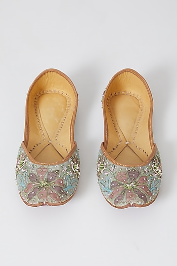 Mint Green Embroidered Juttis by Show Shaa
