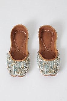 Mint Green Hand Embroidered Juttis by Show Shaa