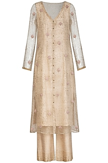 Ivory Block Printed & Embroidered Tunic With Palazzo Pants by Show Shaa