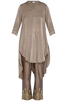 Mocha Brown Embroidered Pleated Tunic With Straight Pants  by Show Shaa