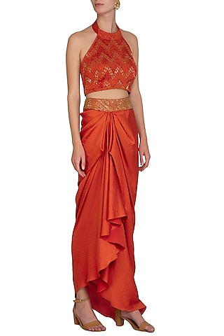 Tangerine Orange Embroidered Crop Top With Drape Skirt & Belt by Show Shaa