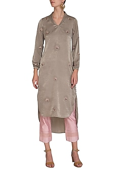 Mocha Brown Floral Embroidered Tunic With Pants by Show Shaa