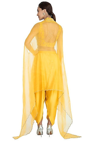 Yellow Embroidered Printed Crop Top With Dhoti Pants & Dupatta by Show Shaa