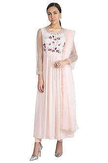Bermuda Pink Embroidered Printed Anarkali Set by Show Shaa